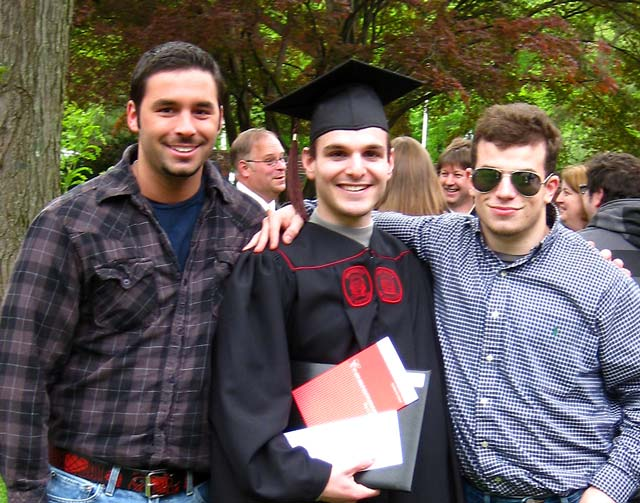 Graduation photo of Zak Shapiro, A.P. Sabourin, and Doug B. Horak