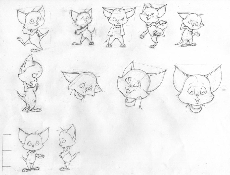 Character sketches of Bax the cat
