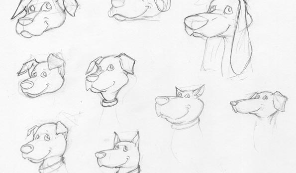 Character sketches of Artie the hound dog