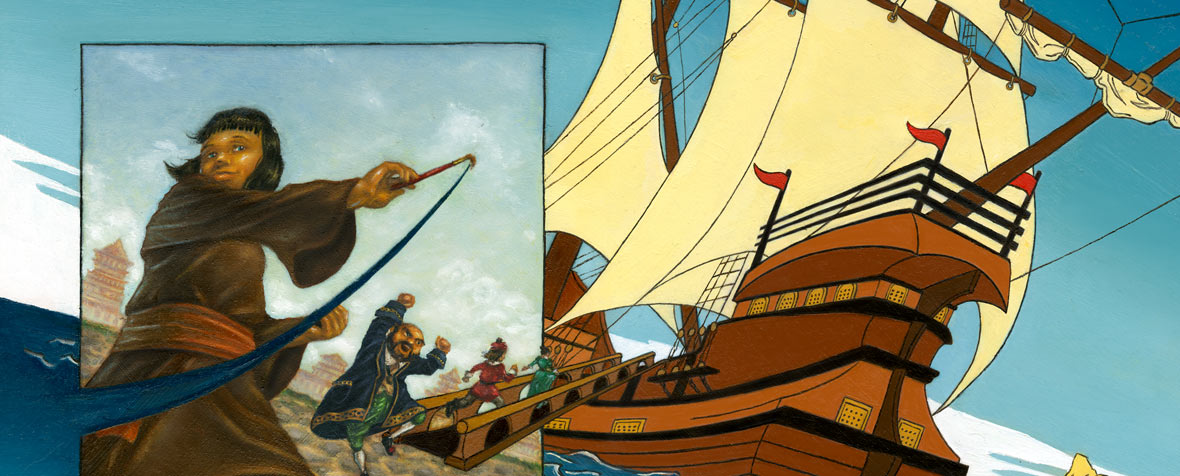 Detail of an illustration of a girl painting a beautiful ship for the magistrate