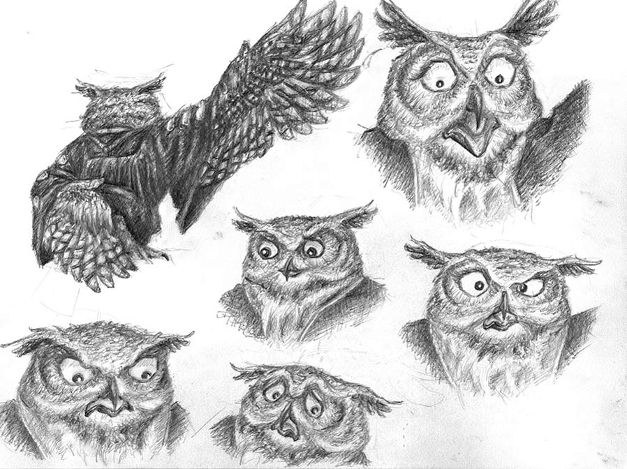 Character model sheet of an owl character with different poses and facial expressions
