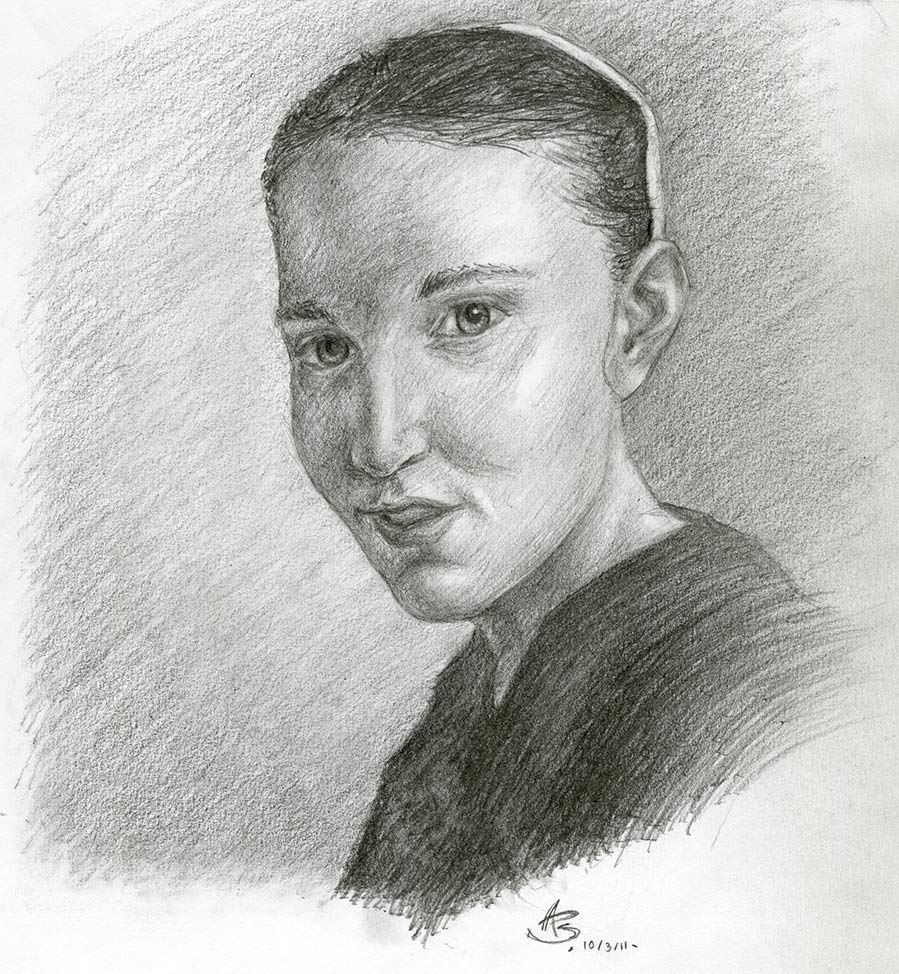 portrait sketch of my sister