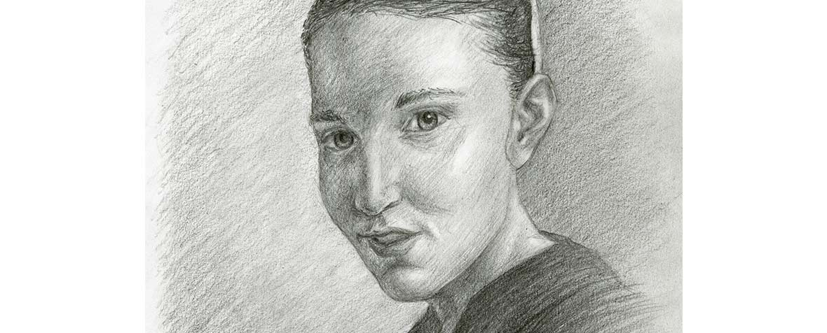 Close up of a portrait sketch of my sister