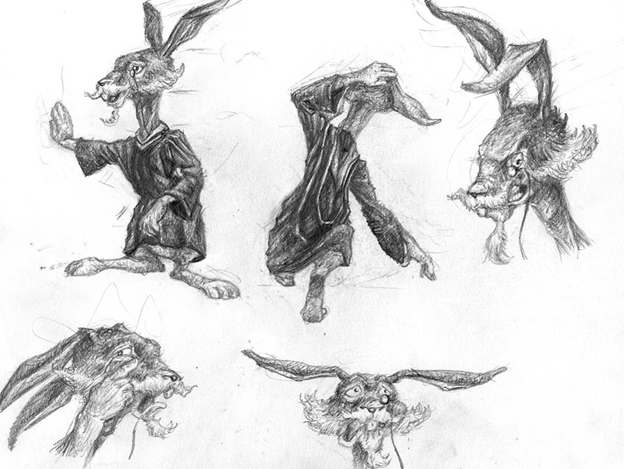 A second character model sheet of a rabbit with different poses and facial expressions