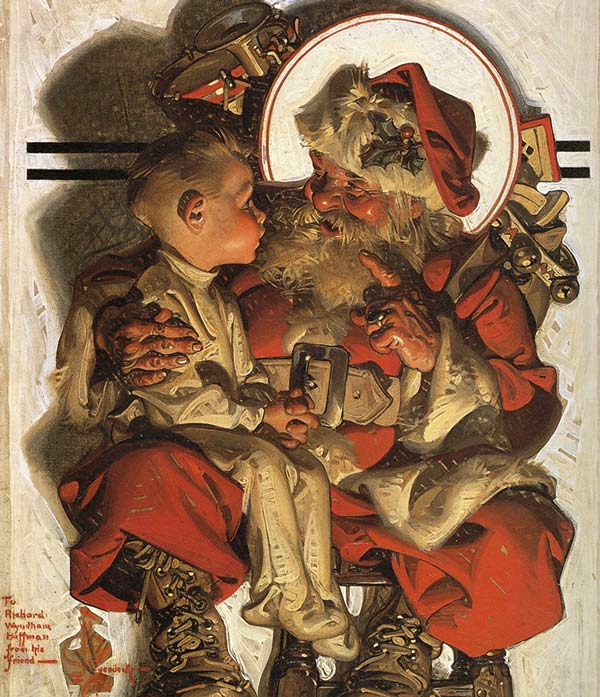 J.C. Leyendecker's illustration of Santa with a boy on his knee