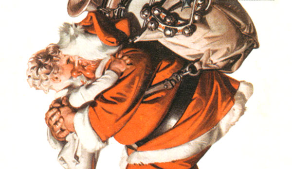 J.C. Leyendecker's illustration of a boy hugging Santa