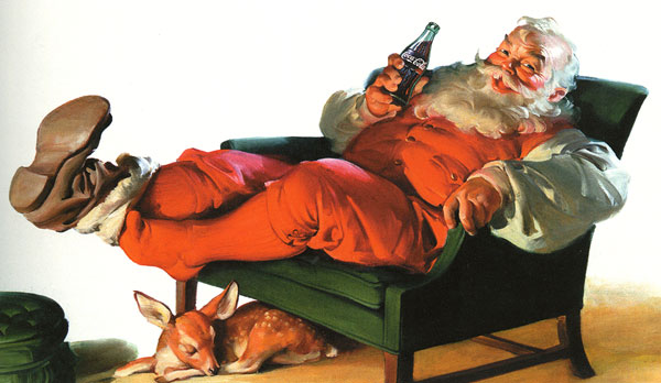 Haddon Sundblom's Coca-Cola Santa relaxing by his fireplace