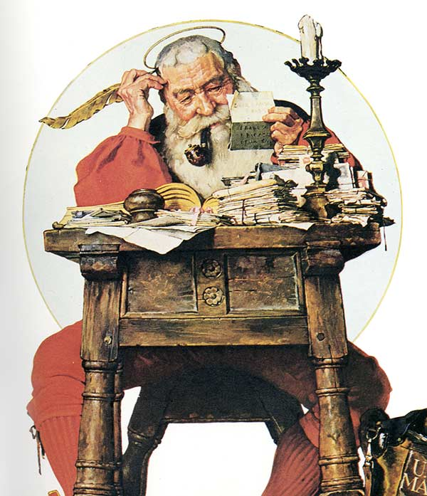 Norman Rockwell's Santa sitting at his desk