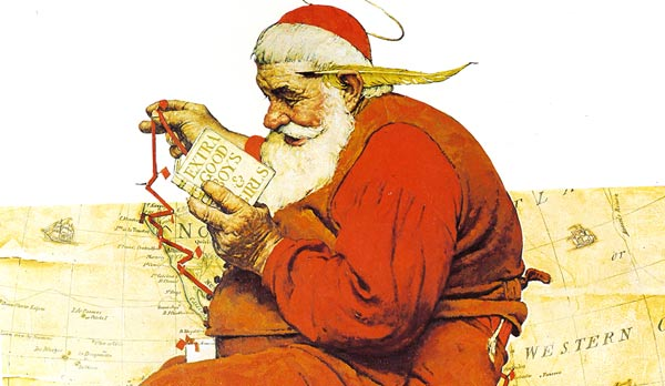 Norman Rockwell's Santa charting his course for Christmas Eve