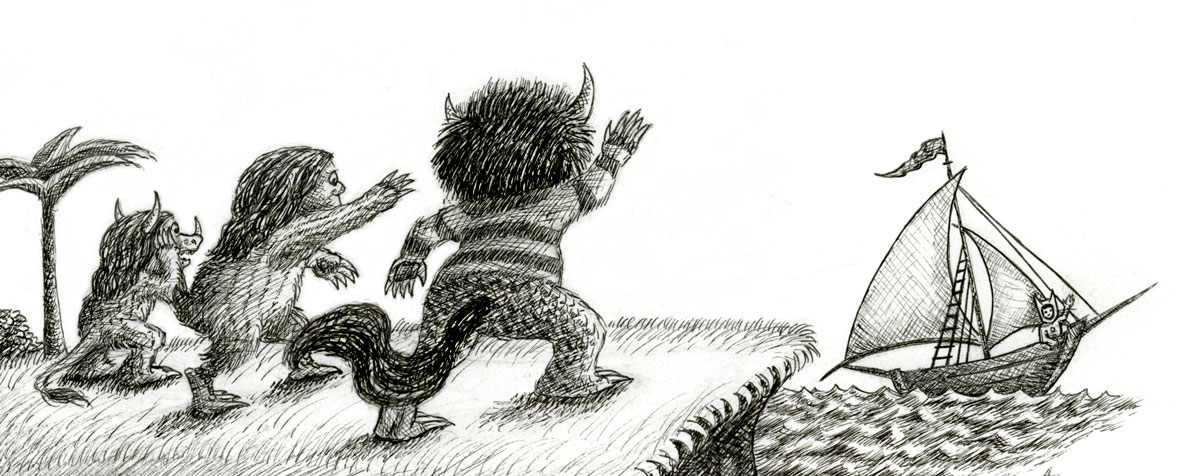 A detail of a drawing of the wild things waving goodbye to Max