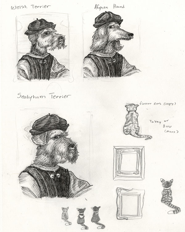 Sketches of dog faces influenced by a Raphael portrait