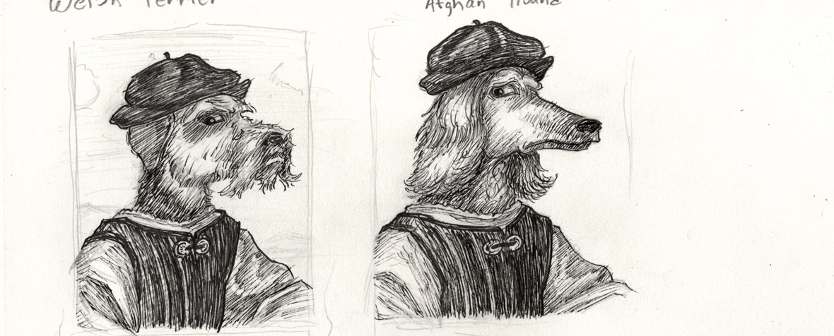 Detail of sketches of dog faces influenced by a Raphael portrait