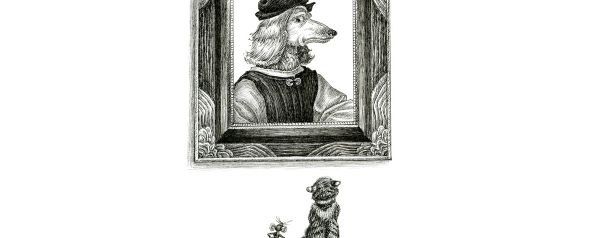 Detail of an illustration of a cat and mouse looking up at a portrait of a dog