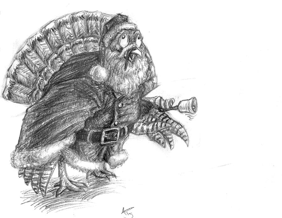 A turkey dressed up in a Santa outfit, jingling a bell