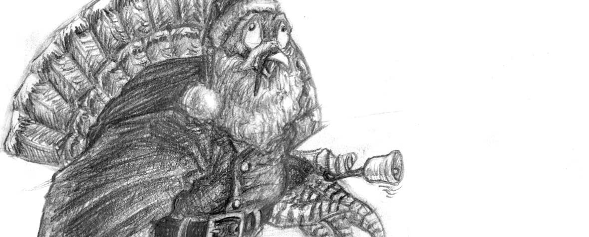 A detail of a sketch of a turkey dressed up in a Santa outfit, jingling a bell