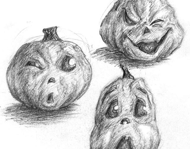 3 different jack-o-lanterns making facial expressions