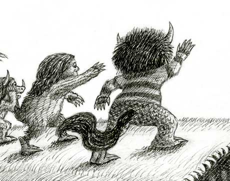 A drawing of the wild things waving goodbye to Max