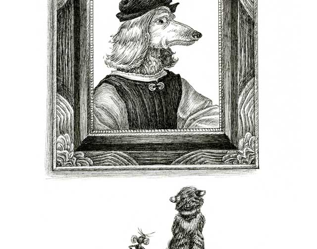 A cat and mouse look up at a portrait of a dog