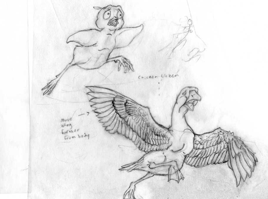 Chicken Licken and Goosey Loosey character sketches