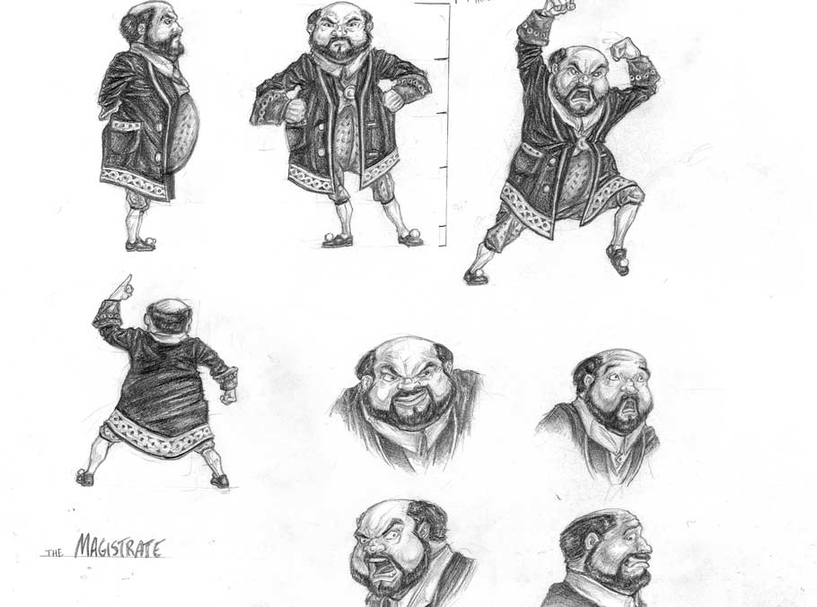 Character model sheet of the magistrate from the Magic Paintbrush