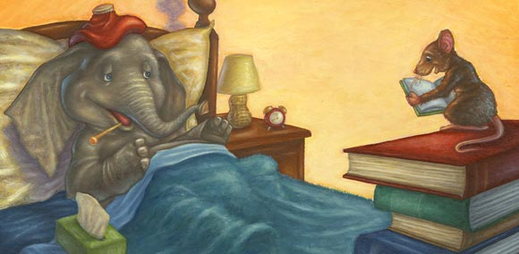 A mouse reads to his sick elephant friend