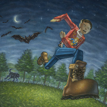 Cardboard Man runs from possessed bats and the wolf-like form of the Glete