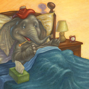 A mouse reads to a sick elephant